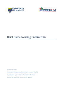 Book: Brief Guide to Using EndNote X6